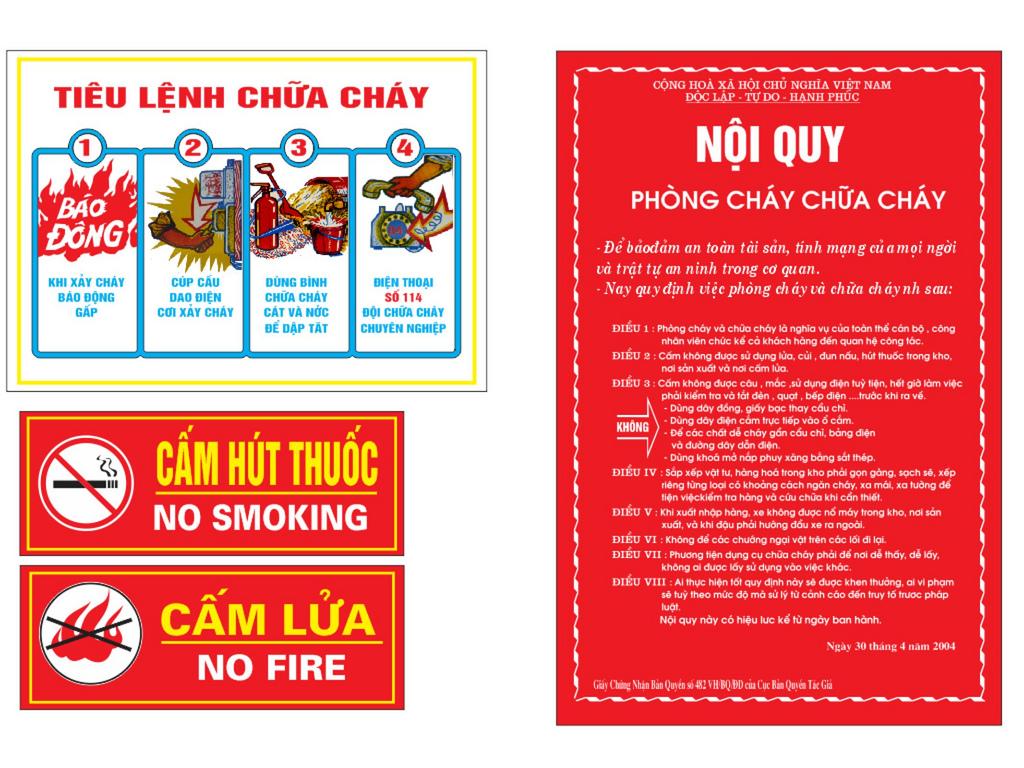 Biển cấm, biển báo, chỉ dẫn về phòng cháy, chữa cháy
