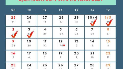 Lịch nghỉ Giỗ Tổ Hùng Vương, 30/4 và 1/5 của CBCCVC, NLĐ năm 2021