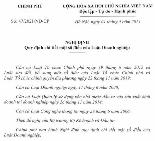 Đã có Nghị định 47/2021/NĐ-CP hướng dẫn Luật Doanh nghiệp 2020
