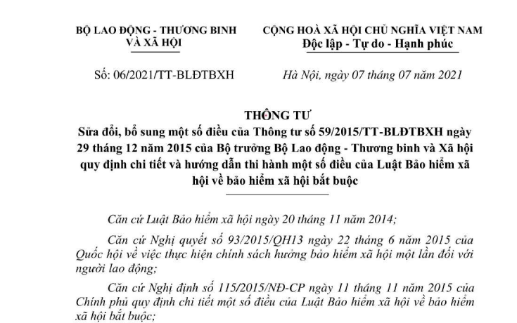Đã có Thông tư 06/2021 sửa đổi quy định về BHXH bắt buộc