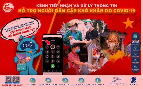 TP.HCM: Người dân khó khăn do COVID-19, gọi 1022 để được hỗ trợ