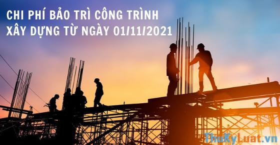 Chi phí bảo trì công trình xây dựng từ ngày 01/11/2021