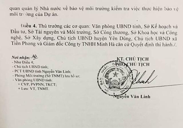 UBND tỉnh Bắc Giang đã có Quyết định số 973/QĐ-UBND do ông Nguyễn Văn Linh, Phó chủ tịch ký về việc phê duyệt báo cáo đánh giá tác động môi trường Dự án khai thác đất làm vật liệu san lấp mặt bằng của Công ty TNHH Minh Hà.