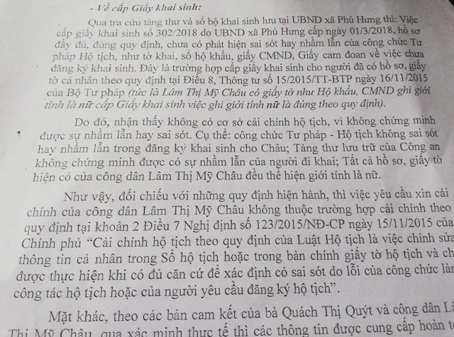 Báo cáo của UBND huyện Cái Nước cho biết, trường hợp của công dân Lâm Thị Mỹ Châu không thuộc trường hợp cải chính theo quy định.