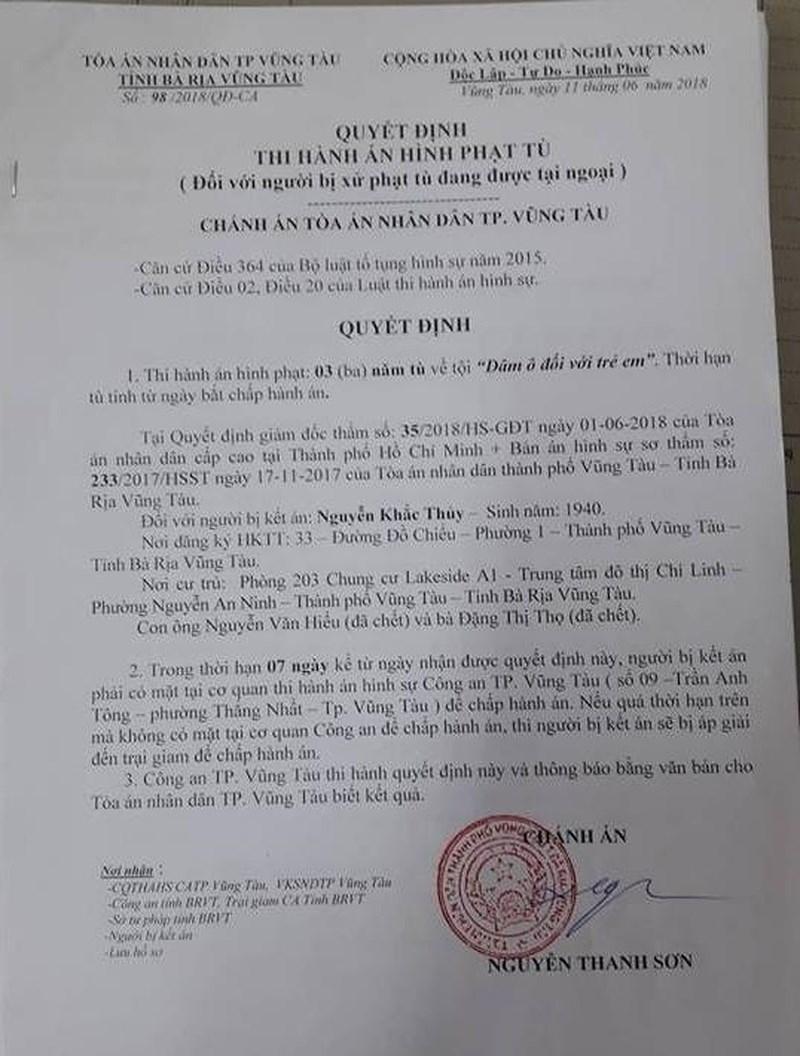 Chính thức thi hành án tù với Nguyễn Khắc Thủy dâm ô - ảnh 2