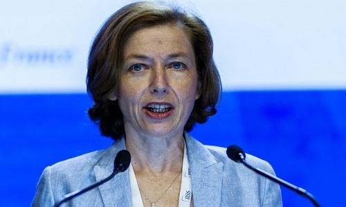 Bộ trưởng Quốc phòng Pháp Florence Parly phát biểu tại Đối thoại Shangri-La 17, Singapore ngày 3/6. Ảnh:AFP.