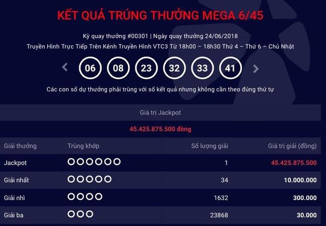 Tấm vé số trúng hơn 45 tỷ đồng của loại hình xổ số tự chọn Mega 6/45 được phát hành ở TPHCM.