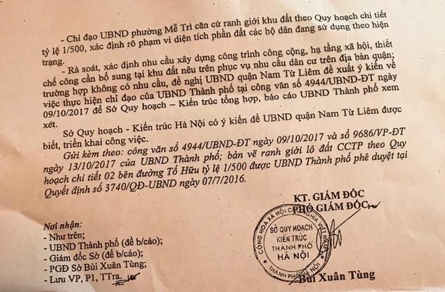 Sở Quy hoạch-Kiến trúc Thành phố Hà Nội đã có ý kiến để UBND quận Nam Từ Liêm được biết và triển khai công việc.