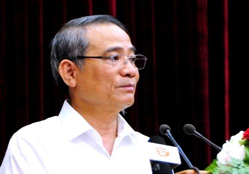 Bí thư Thành uỷ Đà Nẵng Trương Quang Nghĩa phát biểu tại hội nghị, Ảnh: A.Đ.