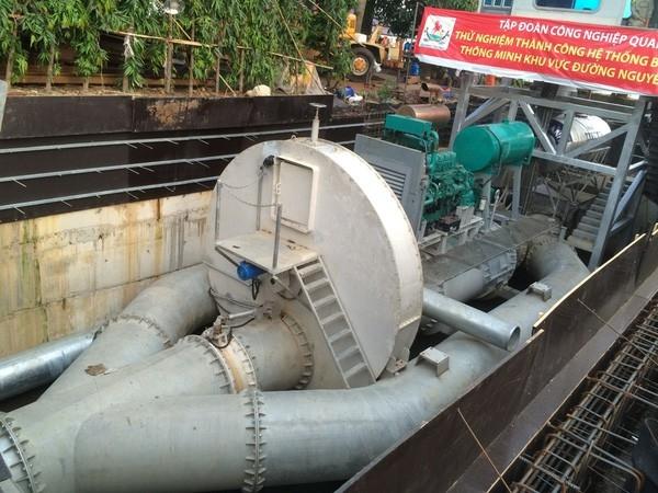Máy bơm chống ngập cho đường Nguyễn Hữu Cảnh có công suất tới 97.000 m3/giờ
