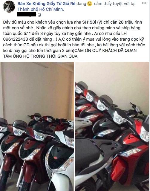 Rao bán xe không giấy tờ tràn lan trên mạng xã hội
