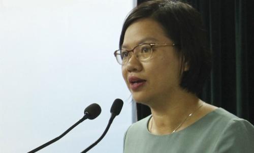 Chị Nguyễn Thị Thu Vân, Phó chủ tịch thường trực Trung ương Hội Liên hiệp thanh niên Việt Nam, phát biểu tại họp báo giới thiệu chương trình Chia sẻ cùng thầy cô. Ảnh: BTC