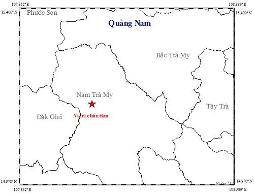 Vị trí trận động đất xảy ra ở huyện Nam Trà My có cường độ 3,5 độ Richter. (Ảnh: Viện Vật lý Địa cầu)