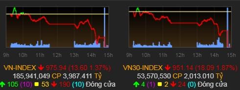 VN-Index tiếp tục lùi sâu về dưới mốc 1.000 điểm. Ảnh: VNDirect
