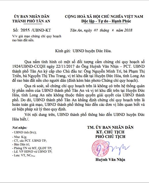 Văn bản của Phó Chủ tịch UBND TP. Tân An.