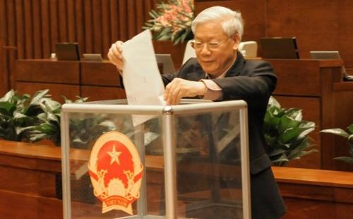 Tổng bí thưNguyễn Phú Trọng tại phiên lấy phiếu tín nhiệmcủaQuốc hội khoá XIII, ngày15/11/2014. Ảnh: VPQH