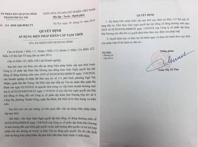 Quyết định của TAND quận Ba Đình, Hà Nội áp dụng biện pháp khẩn cấp tạm thời cấm thực hiện Nghị quyết đại hội đồng cổ đông thường niên số 02/2018/NQ-ĐHĐCĐ ngày 15/8/2018 của Công ty cổ phần Tập đoàn Đại Dương.