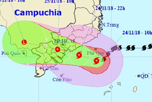 Hướng đi của bão Suagi theo dự báo báo của Trung tâm khí tượng thủy văn Trung ương.
