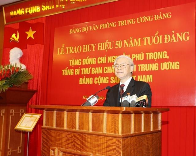 Tổng Bí thư Nguyễn Phú Trọng phát biểu tại buổi lễ. Ảnh: Trí Dũng/TTXVN
