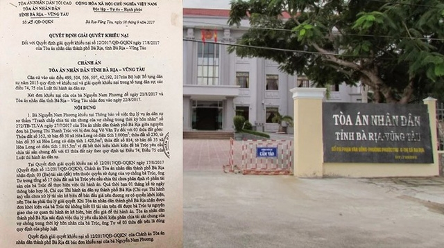 Ngày 8/9/2017, Chánh án TAND tỉnh Bà Rịa - Vũng Tàu đã ra quyết định số 29/QĐ-GQKN giải quyết khiếu nại của bà Phương nhưng đến nay vụ việc vẫn giậm chân tại chỗ.