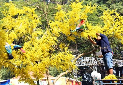 Nhân viên Công ty Cây xanh đang cấp tập hoàn thành các tiểu cảnh để kịp khai mạc Hội hoa xuân vào tối 25 tháng Chạp. Ảnh: Hữu Nguyên
