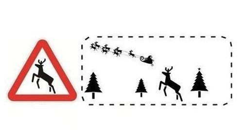 Chú hươu trong biển báo có động vật hoang dã đi ngang thực ra là chú tuần lộc kéo xe của ông già Noel.