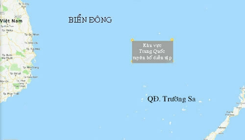 Vị trí Trung Quốc diễn tập ở Biển Đông từ 29/6 đến 3/7. Ảnh: Google Maps.