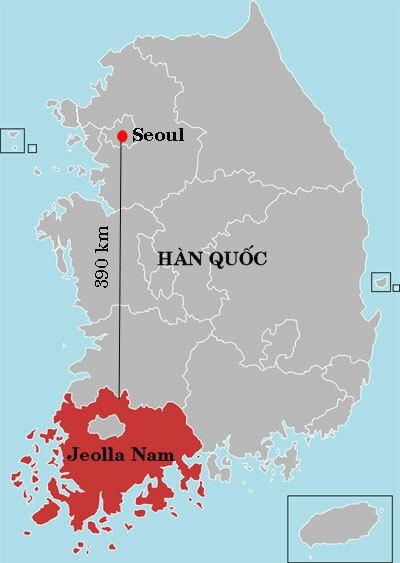 Vị trí tỉnh Jeolla Nam, cách thủ đô Seoul của Hàn Quốc khoảng 390 km. Đồ họa: Wikipedia.
