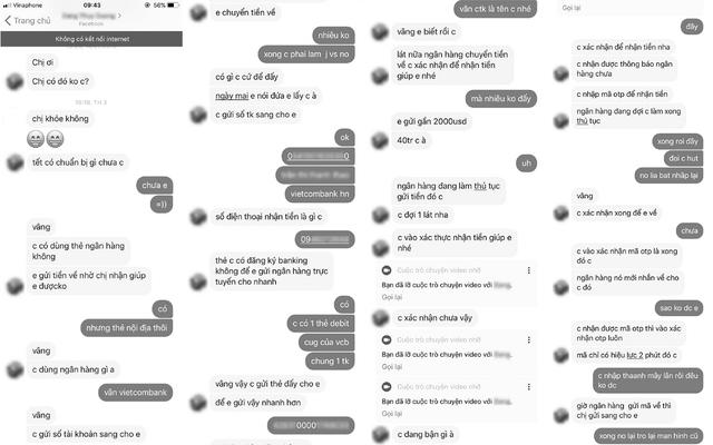 Một số nội dung mà đối tượng lừa đảo chat với nạn nhân