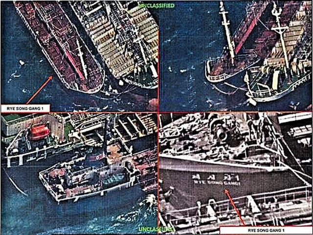 Ảnh chụp từ vệ tinh cho thấy các tàu Trung Quốc và Triều Tiên đã mua bán dầu trái phép trên biển năm 2017 (Ảnh: Chosun)