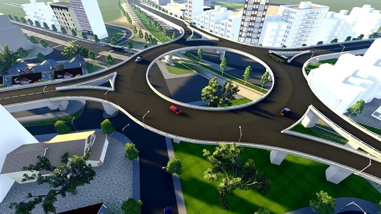 Mô hình phối cảnh cửa ngõ phía Tây Nha Trang trong tương lai. Ảnh: Sở Giao thông Vận tải Khánh Hòa.