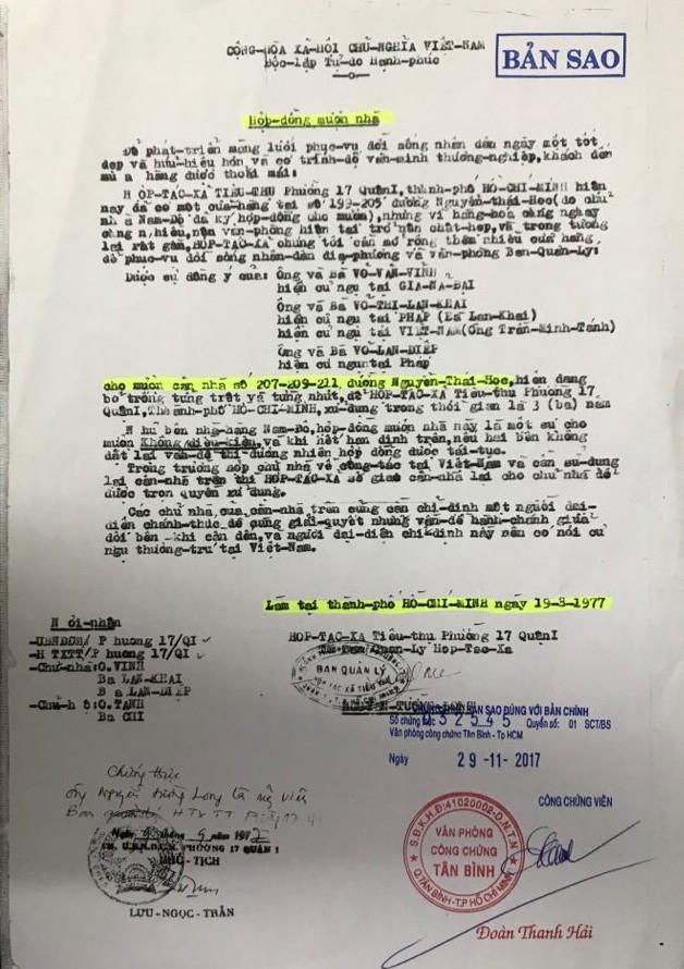 Ban Quản lý hợp tác xã tiêu thụ phường 17 (quận 1) ký hợp đồng mượn nhà 3 năm với chủ nhà là ông Võ Văn Vĩnh, bà Võ Thị Lan Khai và bà Võ Lan Diệp.