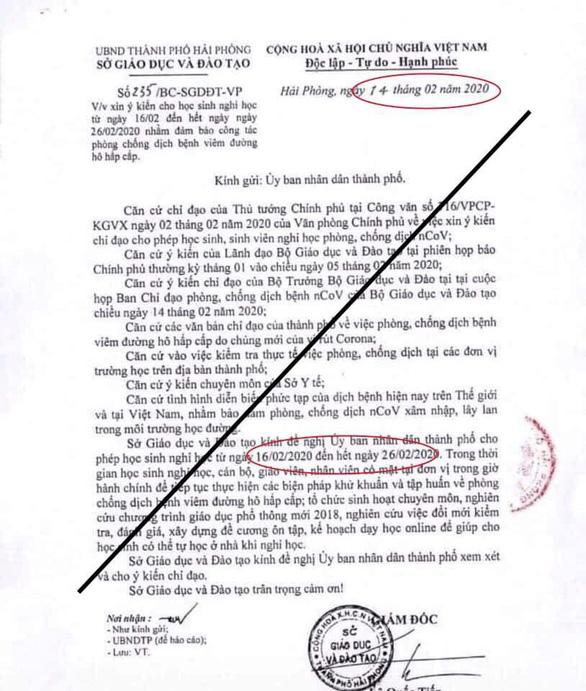 Hải Phòng đề nghị công an điều tra việc chỉnh sửa văn bản đề xuất nghỉ học - Ảnh 1.
