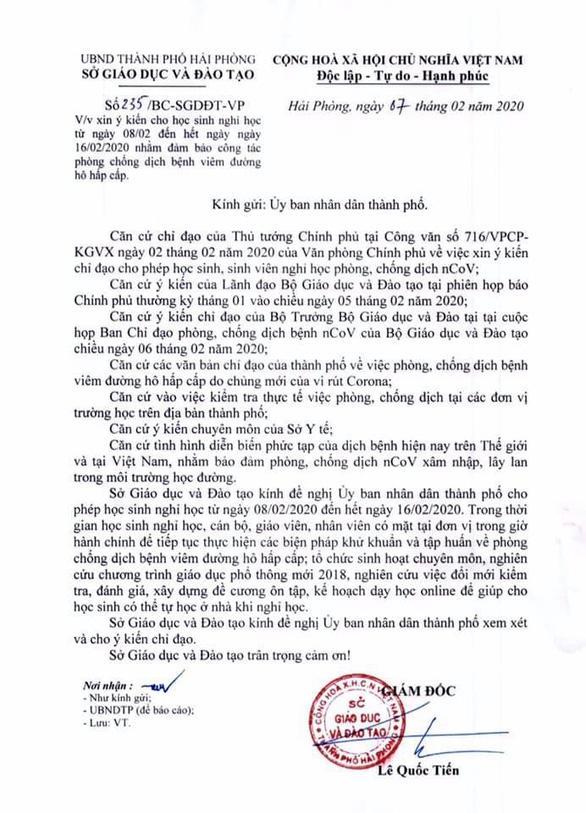 Hải Phòng đề nghị công an điều tra việc chỉnh sửa văn bản đề xuất nghỉ học - Ảnh 2.
