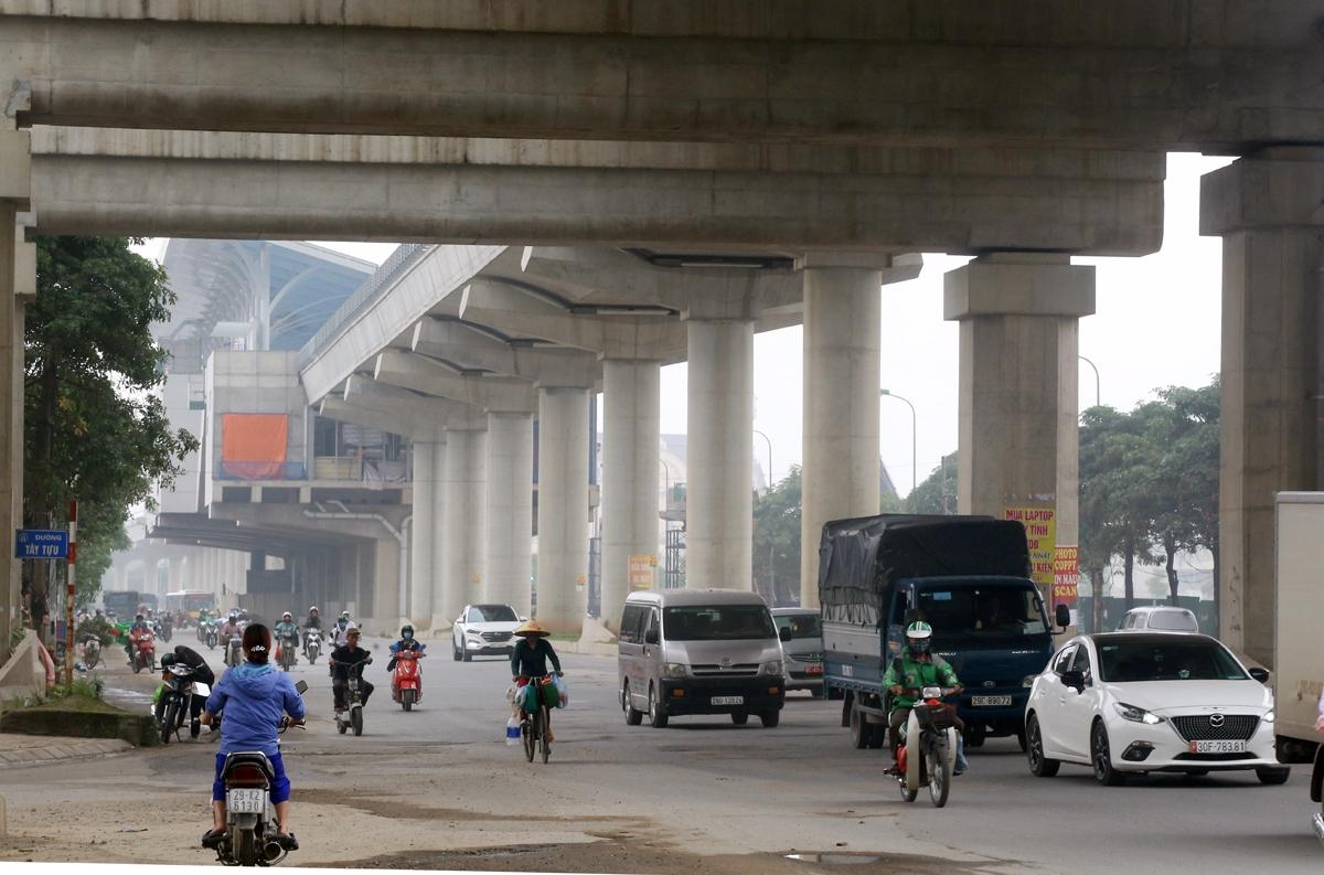 Đoạn đi trên cao dài hơn 8km tuyến Metro Nhổn -Ga Hà Nội đã được hoàn thiện, đang được hoàn công và chờ nghiệm thu bàn giao.Ảnh: Bá Đô