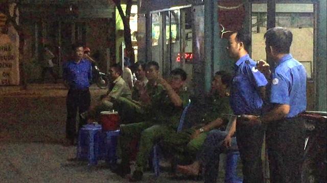 Lực lượng Công an có mặt tại bệnh viện để đảm bảo an ninh trật tự.