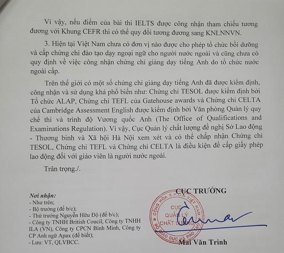 Bộ GD-ĐT lên tiếng vụ Giáo viên IELTS 8.0 vẫn chưa đủ điều kiện dạy ở Việt Nam - Ảnh 1.