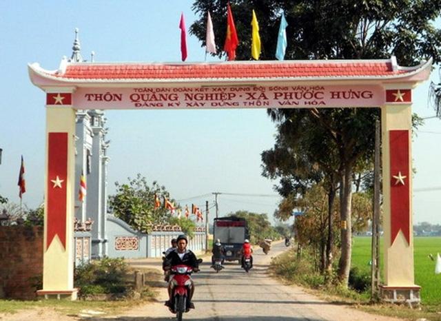 Thôn Quảng Nghiệp (xã Phước Hưng, huyện Tuy Phước, Bình Định), nơi xảy ra việc 2 cây vàng để quên trong bao lúa (ảnh N. Hân).