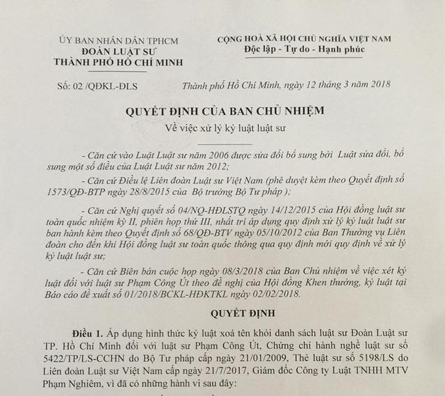 Quyết định của Ban chủ nhiệm Đoàn Luật sư TPHCM