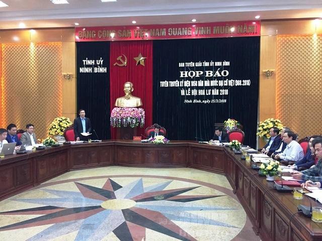 Buổi họp báo tuyên truyền kỷ niệm 1.050 Nhà nước Đại Cồ Việt và lễ hội Hoa Lư 2018.