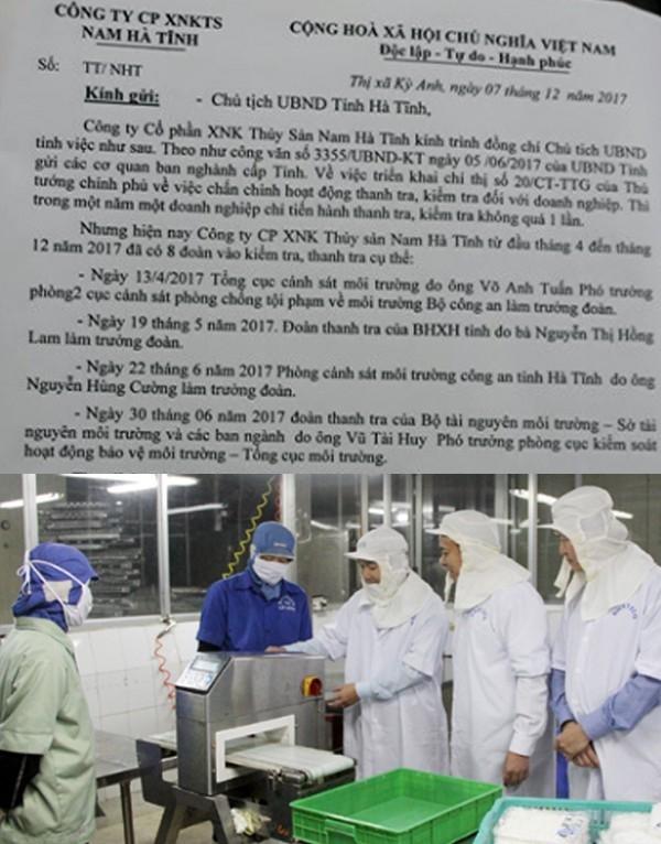 Văn bản phản ánh quá nhiều đoàn thanh kiểm tra đổ bộ xuống công ty của Giám đốc Công ty Thủy sản Hà Tĩnh.