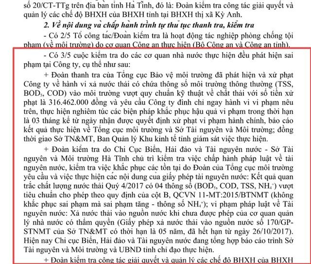 Nhiều sai phạm của Công ty Thủy sản Hà Tĩnh được Thanh tra Hà Tĩnh tổng hợp từ các đoàn thanh kiểm tra báo cáo UBND tỉnh Hà Tĩnh.