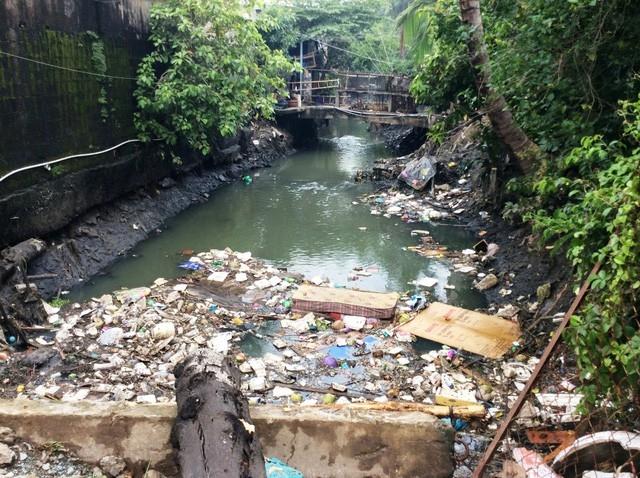 UBND TPHCM chỉ đạo xử lý sai phạm tại dự án tiêu thoát nước và cải thiện môi trường kênh Tham Lương - Bến Cát - Rạch Nước Lên (Trong ảnh: nước thoát theo kênh Hy Vọng ra kênh Tham Lương)