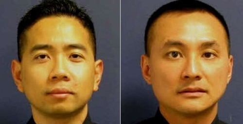 Cảnh sát Houston, Texas, Mỹ Huy Ly (trái) vàLarry Nguyen. Ảnh: ABC.