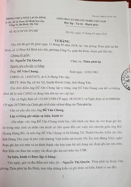 Vi bằng 42 trang giấy về cuộc nói chuyện kỳ lạ giữa bà Hoàng Thị Thanh Huyền trước kia là kiểm sát viên tỉnh Hưng Yên (nay là phó viện trưởng VKSND huyện Ân Thi) với anh rể bị cáo Chung.