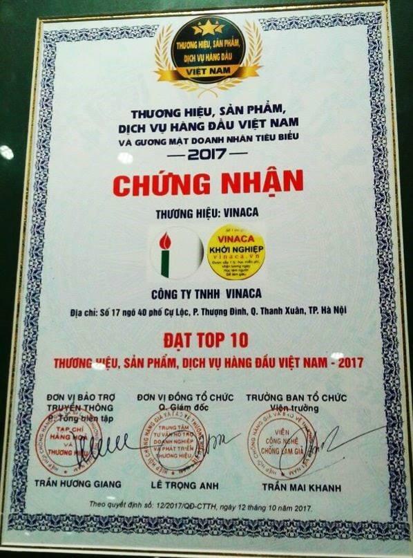 Chứng nhận Công ty TNHH Vinaca Top 10 thương hiệu hàng đầu Việt Nam năm 2017.