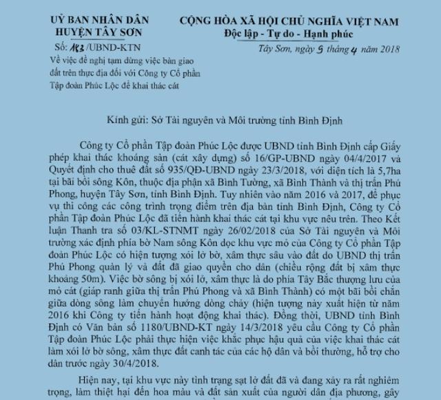 UBND huyện Tây Sơn kiến nghị Sở TN-MT tạm dừng  việc bàn giao đất trên thực địa cho Cty Phúc Lộc để thực hiện đầy đủ các nội dung theo chỉ đạo của tỉnh Bình Định.