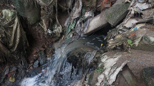 Nước thải từ hệ thống xử lý phân bùn bể phốt được xả thải ra môi trường qua hệ thống cống nước thải chung của khu dân cư.