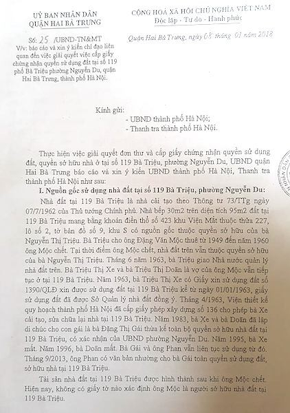 """Mới đây nhất, UBND quận Hai Bà Trưng đã có công văn một lần nữa khẳng định: """"Tài sản nhà đất tại 119 Bà Triệu được hình thành sau khi ông Mộc chết. Hiện nay, không có giấy tờ nào xác định ông Mộc là người sở hữu nhà đất tại 119 Bà Triệu""""."""