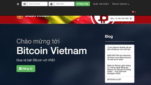 Trang web Bitcoin Việt Nam trước khi bị cấm hoạt động, tịch thu tên miền.